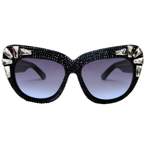 Barlow Black embellished retro sunglasses