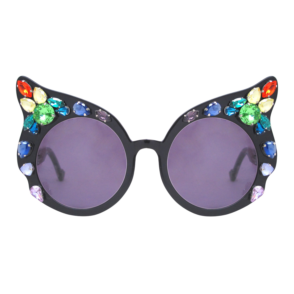 A-Morir Eyewear - Carol Black Rounded Cat Eye With Rainbow Gems