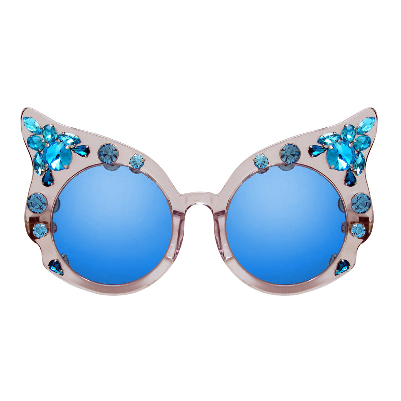 A-Morir Eyewear - Carol Blue Rounded Cateye With Gems + Mirror Lenses
