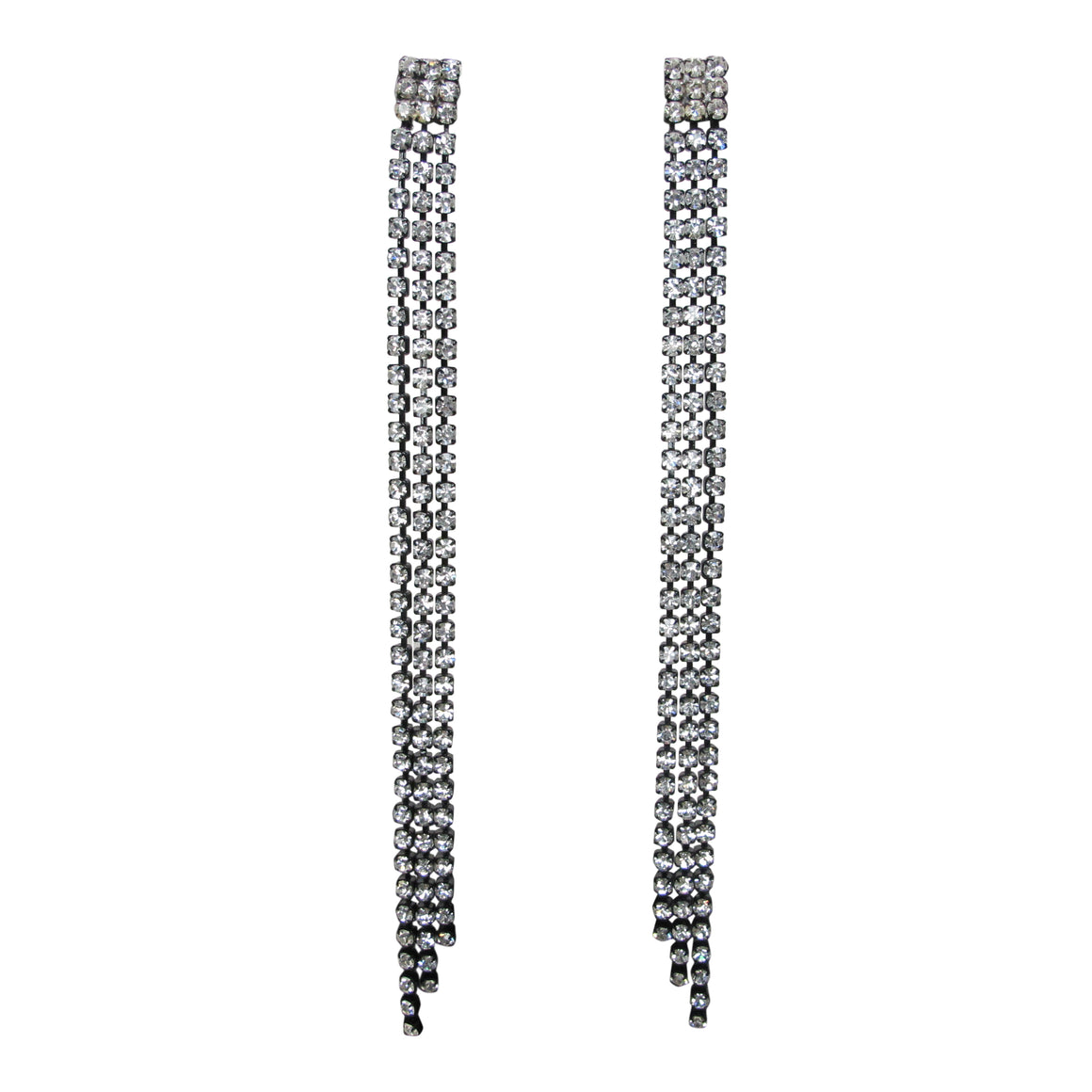 C Major Black Plated Crystal Chain Earrings - Pair