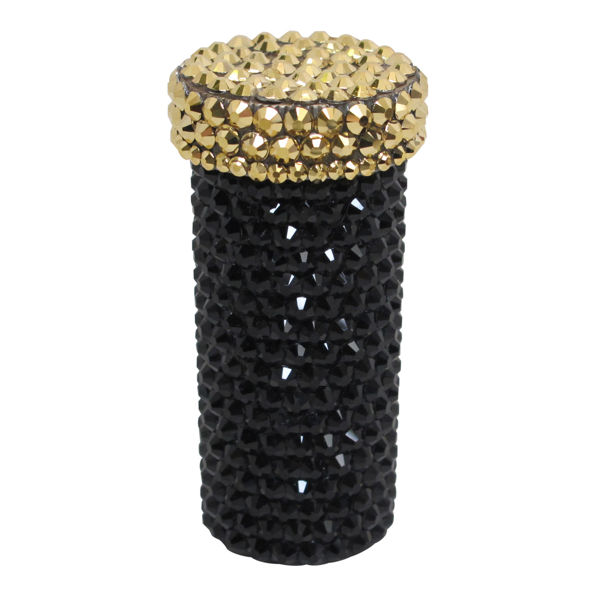 Crystal Pill Bottle in Black + Gold