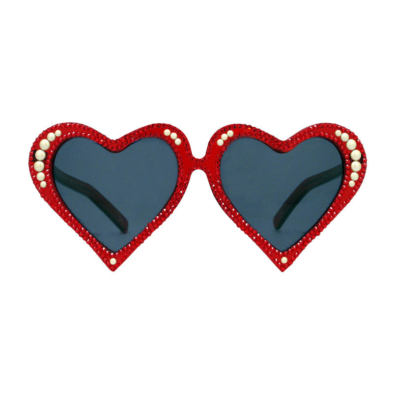 McCready crystal adorned red heart shaped sunglasses