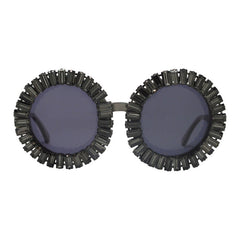 Nellee baguette gem adorned black sunglasses