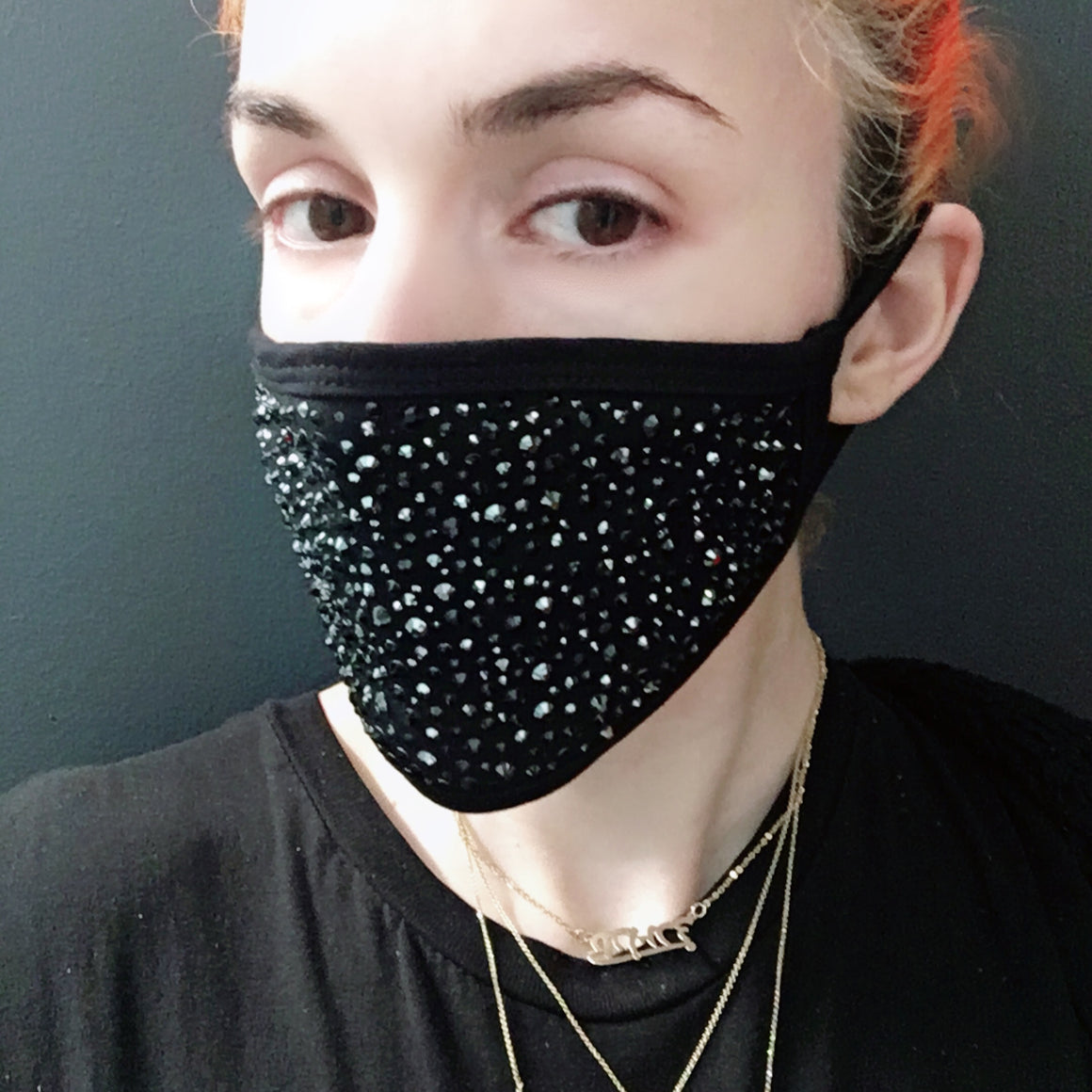 Black Cotton Crystal Face Mask