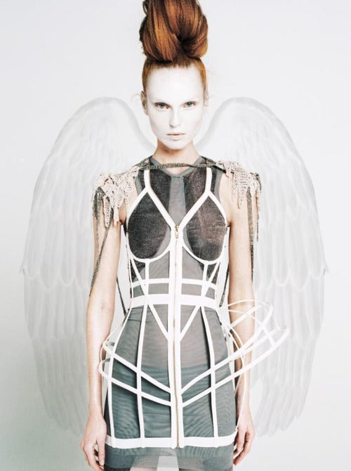 Chromat Winter Wonderland All White Cages Outfit Inspiration