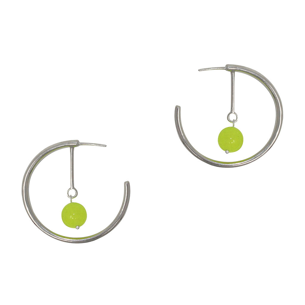 Line Hoop Earrings - Neon