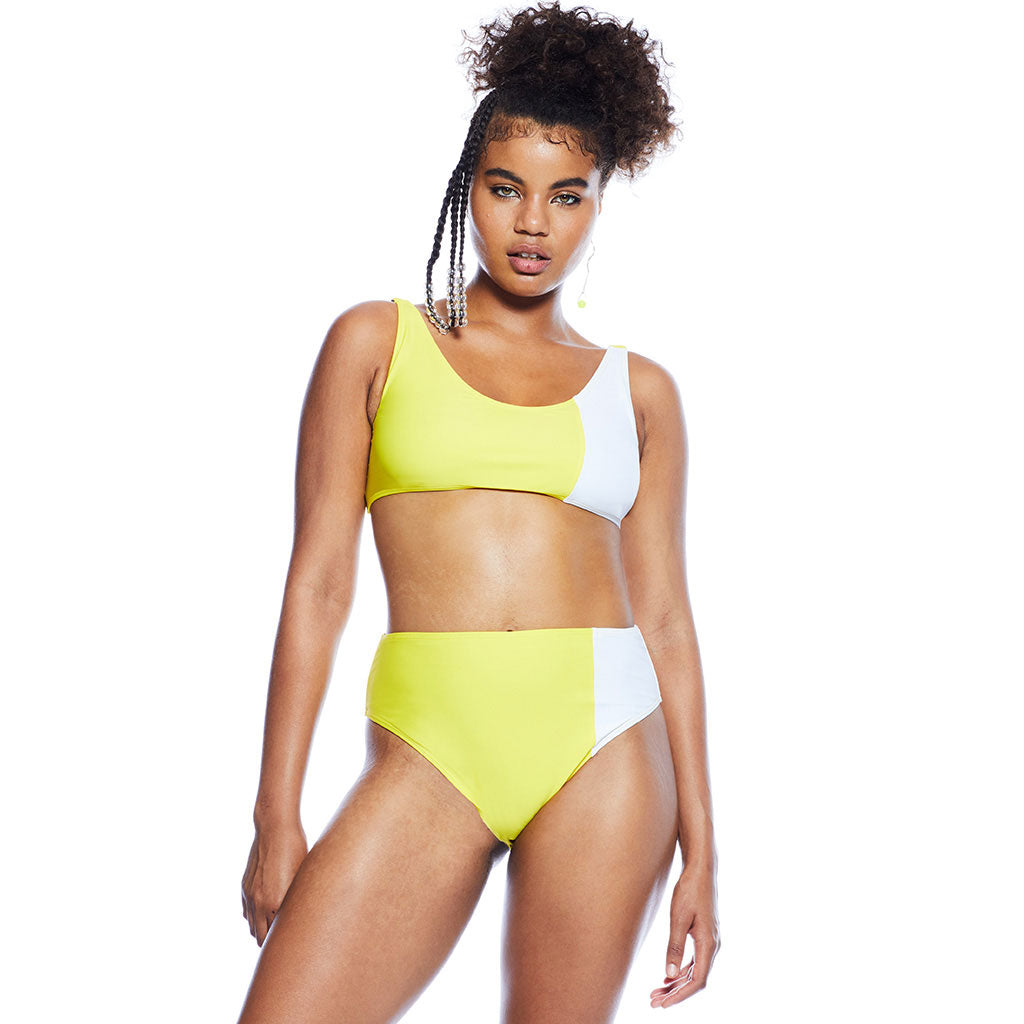 Mica Duotone Top - Yellow/White