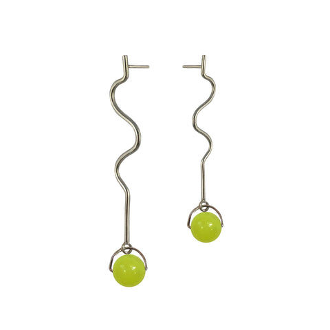 Neon Glass Bead Ripple Earrings
