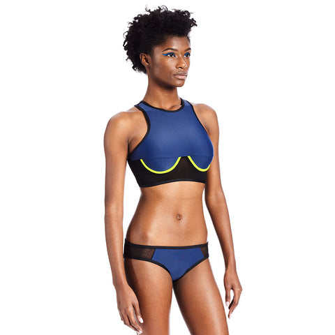 Racer Top  - Midnight Blue / Neon Yellow