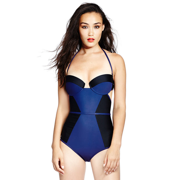 X Bustier Suit - Midnight Blue / Black
