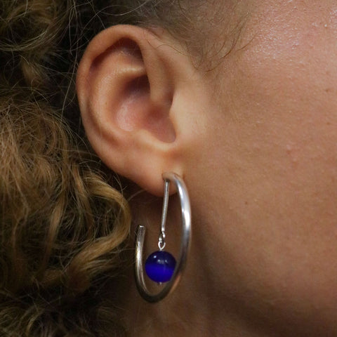 Line Hoop Earrings - Blue
