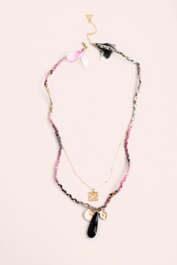 Braided Strand and Stone Necklace - Black