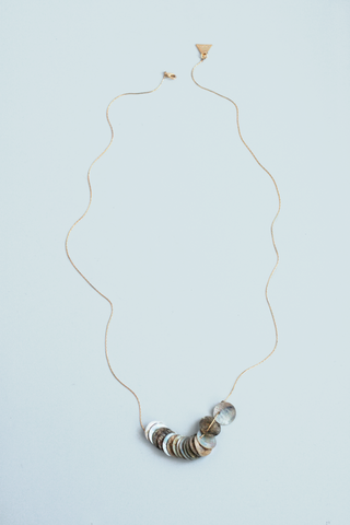 Shell Disk Necklace - Grey