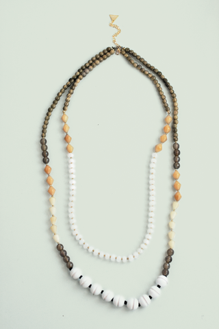 Long Double Layered Necklace - White