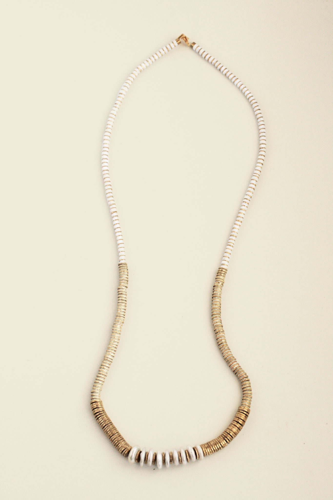 Large Beaded Long Necklace - Ivory