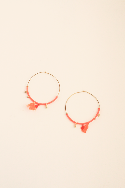 Double Tassel Hoop Earrings - Neon
