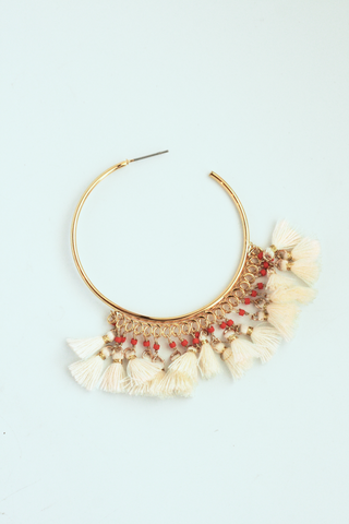Tassel Statement Hoop - White