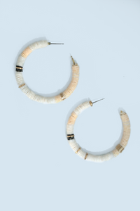 Beaded Hoop Earrings - White