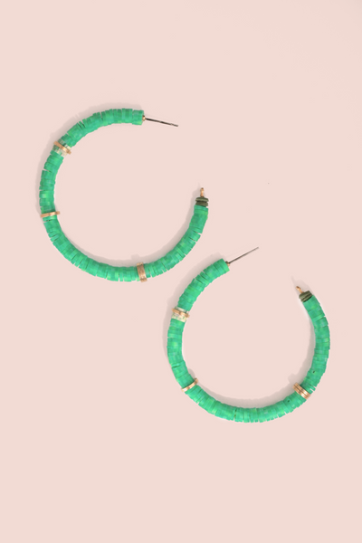 Beaded Hoop Earrings - Green
