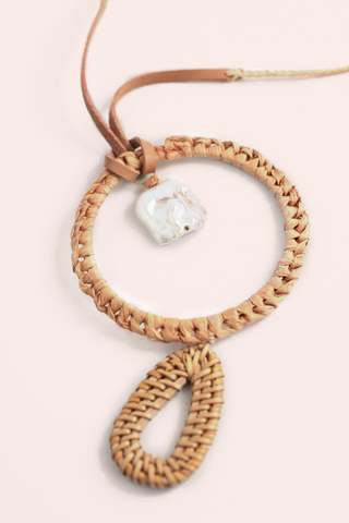 Braided Drop Necklace - Pearl