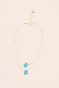 Double Layer Stone Necklace - Turquoise