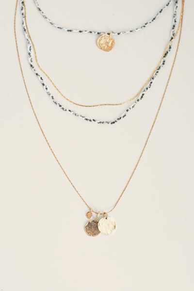 Delicate Braid and Coin Necklace - White