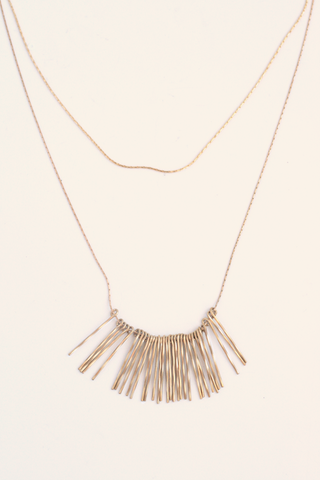Layered Fringe Necklace - Gold