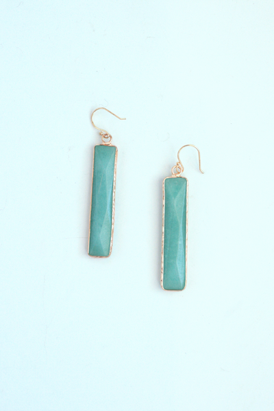 Rectangle Gem Drop Earrings - Mint