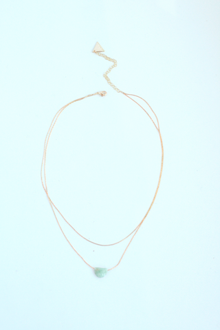 Double Layer Gemstone Necklace - Amazonite