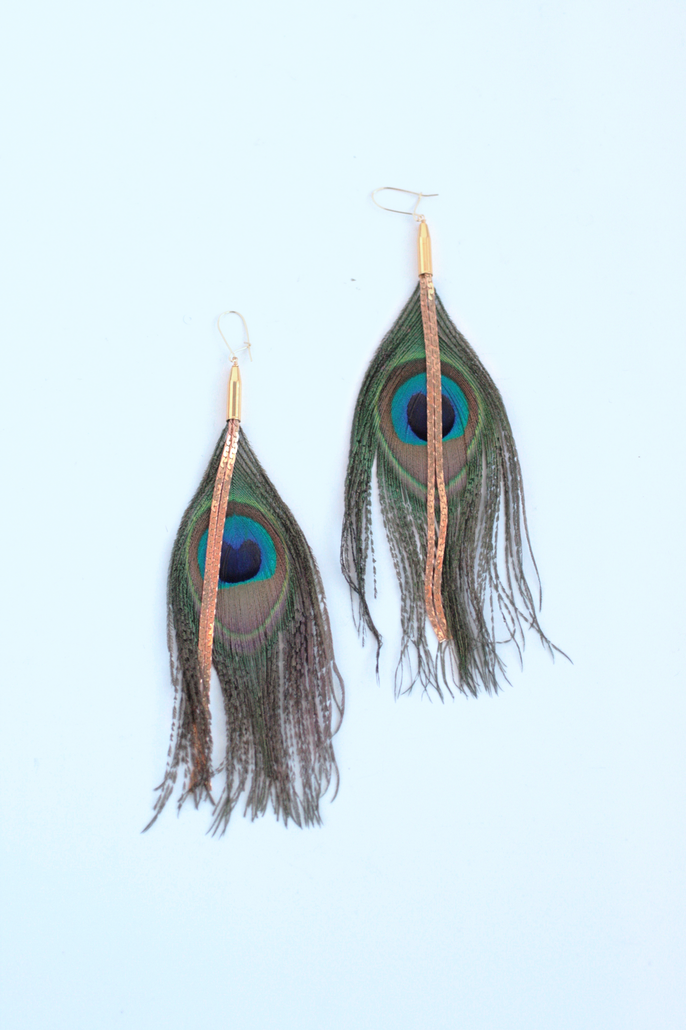 Vintage Chain and Peacock Feather Earrings - Turquoise