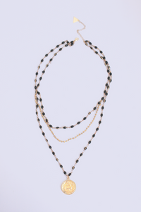 Pre layered Bead and Coin Pendant Necklace - Black
