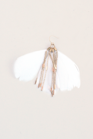 Fan Feather Earrings - White