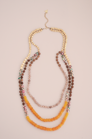 Golden Sun Bead Triple Necklace - Yellow