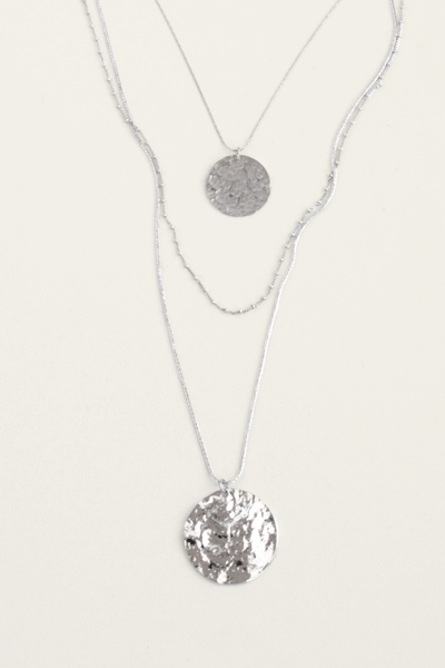 Large Coin Multilayer Necklace - Silver