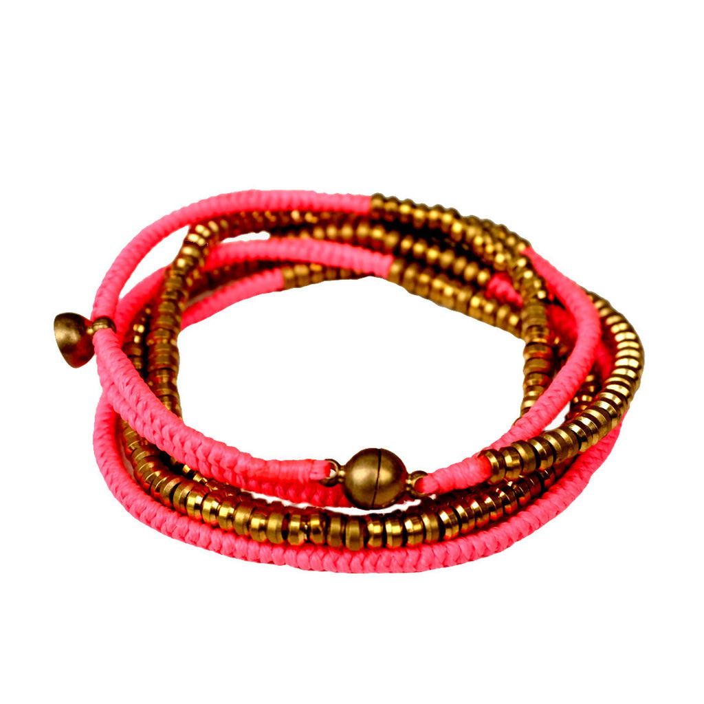 Brass Heishi Wrap with Magnetic Closure NEON PINK