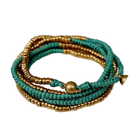 Brass Heishi Wrap with Magnetic Closure - Turquoise