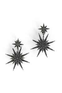 Pave Medium Starburst Front Back Earrings - Black