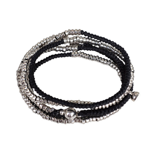 Silver Heishi Wrap with Magnetic Closure BLACK