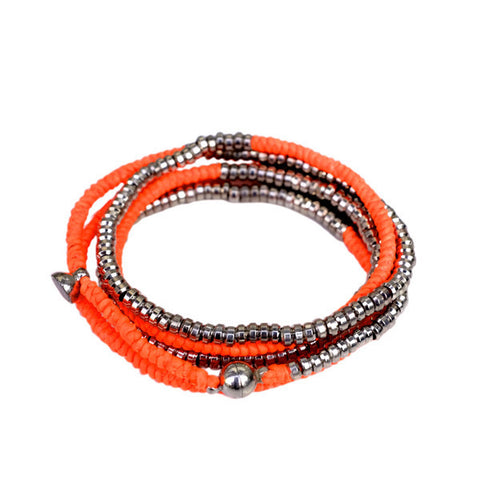 Silver Heishi Wrap with Magnetic Closure NEON ORANGE