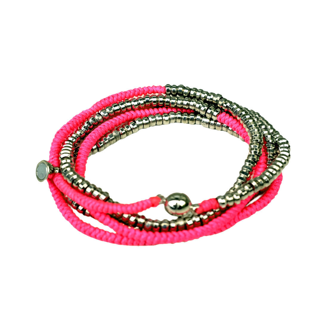 Silver Heishi Wrap with Magnetic Closure Neon Pink