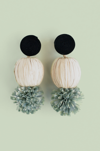 Raffia Pom Pom Earrings - Cream