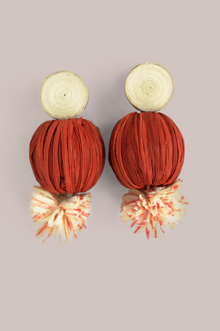 Raffia Pom Pom Earrings - Red