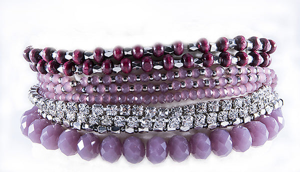 PRELAYERED CRYSTAL MAGNETIC& STRETCH STATEMENT BRACELET: DUSTY ROSE
