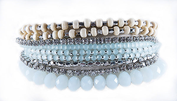 PRELAYERED CRYSTAL MAGNETIC& STRETCH STATEMENT BRACELET - ICE BLUE