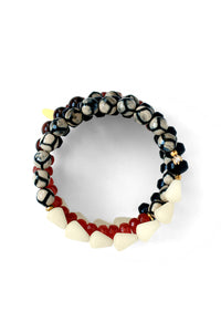 Golden Sun Bead Coil Bracelet - Red