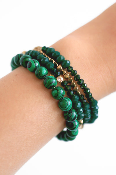 Golden Sun Bead Coil Bracelet - Green