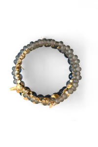 Golden Sun Bead Coil Bracelet - Grey