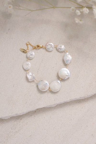 Coin Pearl Wire-Wrapped Bracelet