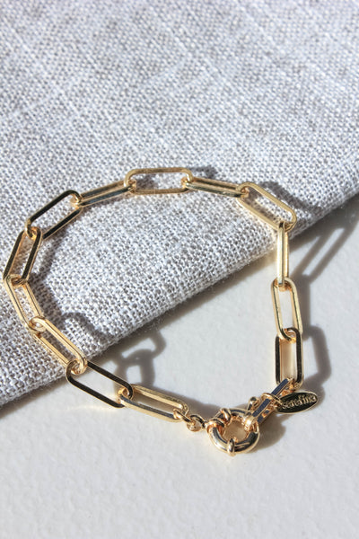 Paperclip Chain Bracelet - Gold Plated