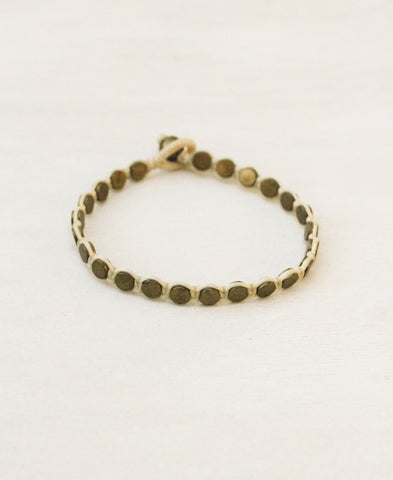 Full Metal Disk Single Bracelet in Brass